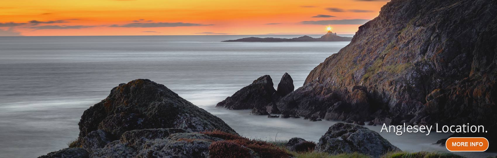 Sunset at South Stack Lighthouse in Holyhead Island