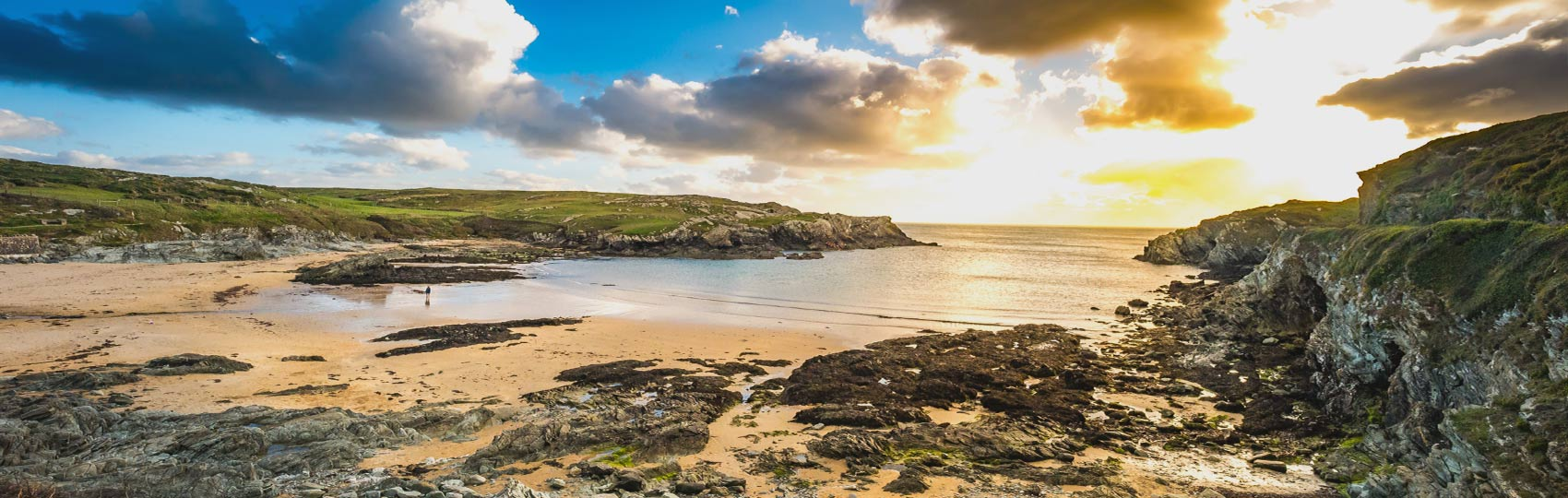 Porth Dafarch Beach at sun down